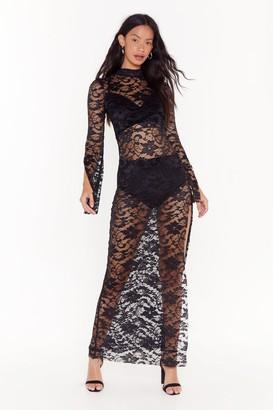 Nasty Gal Womens Take My Lace High Neck Maxi Dress - Black - 4, Black