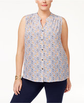 Nine West Plus Size Anchor-Print Blouse