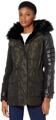 Blanc Noir Enfield Hybrid Camo Jacket (Olive Camo) Women's Clothing