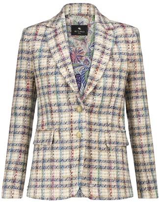Etro Checked boucle tweed blazer