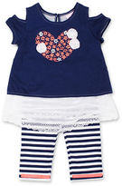 Little Lass Baby Girls Two-Piece 3-D Flowers Top and Striped Capri Set
