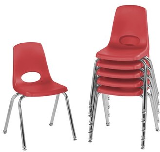 Factory Direct Partners 16in Stack Chair with Swivel Glides, 6-Pack