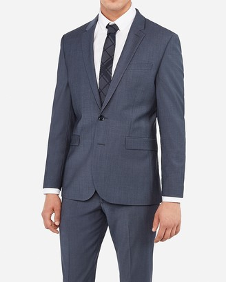 Express Extra Slim Blue Performance Stretch Wool-Blend Suit Jacket