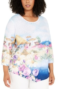 Alfred Dunner Plus Size Petal Pushers Scenic Knit Top