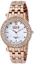 Burgi Women's BUR079RG Swiss Quartz Diamond Crystal Mother-of-Pearl Rose-tone Stainless Steel Bracelet Watch