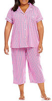 Lauren Ralph Lauren Plus Striped Jersey Pajamas