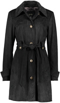 Black Faux Suede Trench Coat