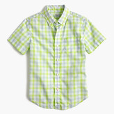 J.Crew Kids' short-sleeve Secret Wash shirt in green gingham