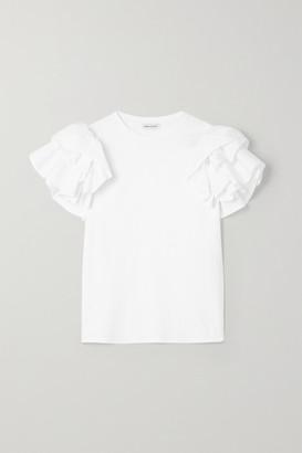 Alexander McQueen Ruffled Poplin-trimmed Cotton-jersey T-shirt - White