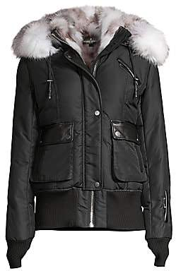 Nicole Benisti Women's Mayfair Fur Trimmed Bomber Jacket