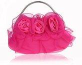 Janeyer® Janeyer Vogue Women Soft Silk Handbag Bridal Bag Wrinkled Elegant Floral Purse 20x20cm