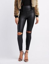 Charlotte Russe Slit Knee Liquid Leggings