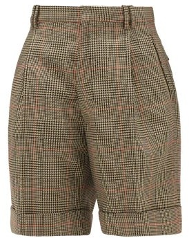 Maison Margiela High-rise Checked Twill Shorts - Green Multi