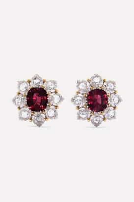 Buccellati 18-karat White And Yellow Gold, Garnet And Diamond Earrings - White gold