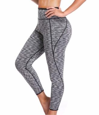 SEXYWG Women Sweat Capri Slimming Pants Hot Thermo Neoprene Sauna Leggings Shapewear - Black -