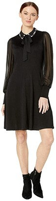 CeCe Long Sleeve Mix Media Sweater Dress with Embroidered Collar (Rich Black) Women's Dress