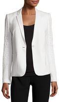 Elie Tahari Tova Crochet-Sleeve One-Button Blazer