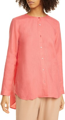 Eileen Fisher Collarless Organic Linen Button-Up Shirt