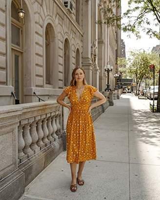The Drop Women's Marigold Floral Deep V-Neck Cap Sleeve Midi Dress by @charlottebridgeman, M
