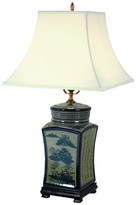 """Oriental Furniture 25"""" Blue and White Chinese Calligraphy Porcelain Lamp"""