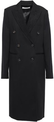 Victoria Beckham Double-breasted Paneled Wool-twill And Jacquard Coat