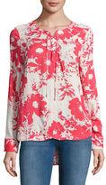 CK Calvin Klein Crisscross-Front Floral Blouse