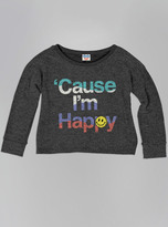 Junk Food Clothing Kids Girls Cause I'm Happy Sweater-char-m