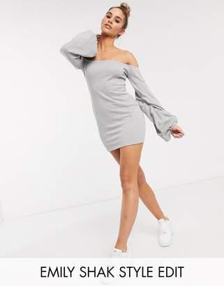 Asos Design DESIGN off the shoulder sweat mini dress-Grey