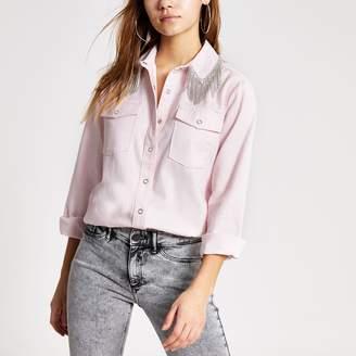River Island Womens Pink diamante tassel collar denim shirt