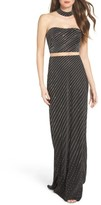 La Femme Women's Embellished Illusion Gown