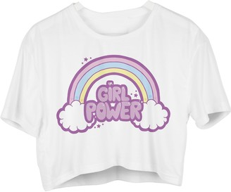 Fringoo Womens Girls Crop T-Shirt Short Sleeve Cropped Length Top Cute Unicorn Print Fashion Party Summer Casual Tee. UK 8 10 12 (One Size Fits UK 8-10 - 12