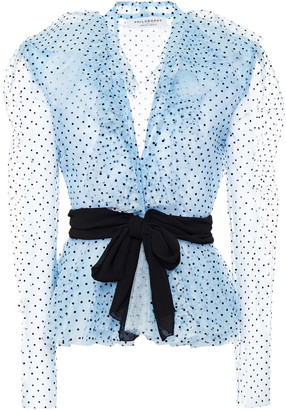 Philosophy di Lorenzo Serafini Belted Ruffled Flocked Lace Top