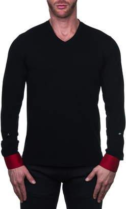 Maceoo Edison Regular Fit Geo Print Long Sleeve V-Neck T-Shirt