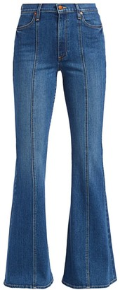 Alice + Olivia HIgh-Rise Seamed Bell Bottom Jeans