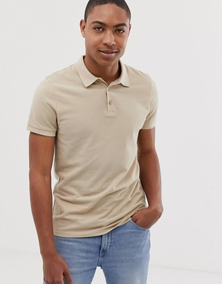 BEIGE Asos Design ASOS DESIGN pique polo in