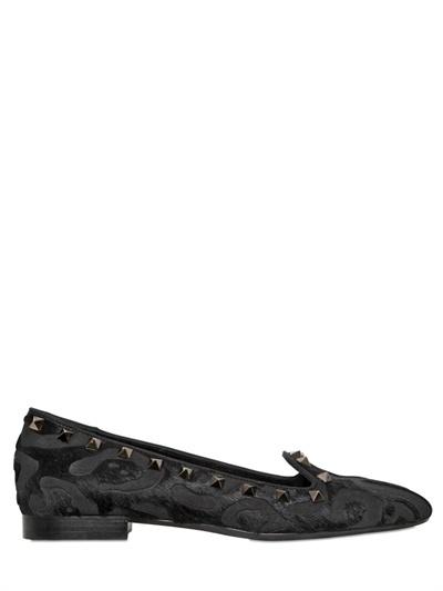 Valentino 10mm Noir Lasered Ponyskin Loafers