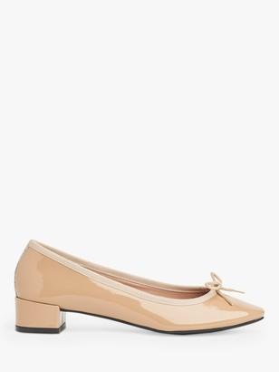 LK Bennett Preston Leather Ballerina Shoes, Beige Trench