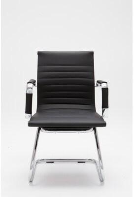 Wade Logan Bayard Leather Guest Chair Metal Seat Color: Black