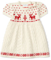 Ralph Lauren Short-Sleeve Mixed-Knit Dress, Cream, Size 3-24 Months