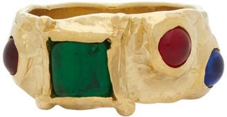 MONDO MONDO Gold and Green Suede Ring