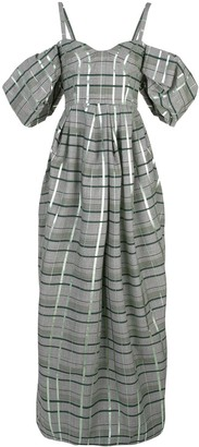 Rosie Assoulin off-shoulder check gown