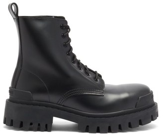 Balenciaga Strike Leather Lace-up Boots - Black