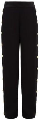 Balmain Buttoned Crepe Wide Leg Trousers - Womens - Black
