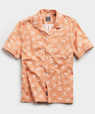 Todd Snyder Limited Edition Matchstick Print Camp Collar Short Sleeve Shirt in Peach