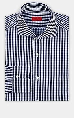 Isaia Men's Checked Cotton Poplin Dress Shirt - Navy