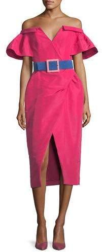 Carolina Herrera Off-the-Shoulder V-Neck Faux-Wrap Dress