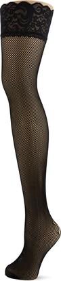 Pour Moi? Women's Suspense Fishnet Back Seam Lace Top Hold Stockings