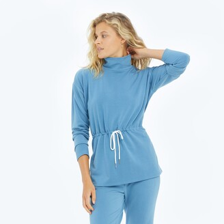 Summersalt The Softest French Terry Cinched Waist Pullover - Blue Horizon