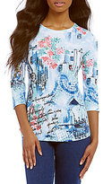 Allison Daley Petites Wide Crew Neck Scene Print Knit Top