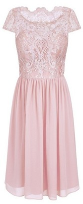 Dorothy Perkins Womens Chi Chi London Pink Embroidered Midi Skater Dress, Pink